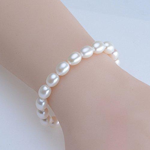 RFV 8-9mm Natürliche Frischwasserperlenarmband Weiße Reis Perle Armband Einreihige Reis Perle Glare Armband,Weiß,A