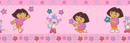 Brewster 147b02146Dora estrellas rosa pared frontera, Nickelodeon
