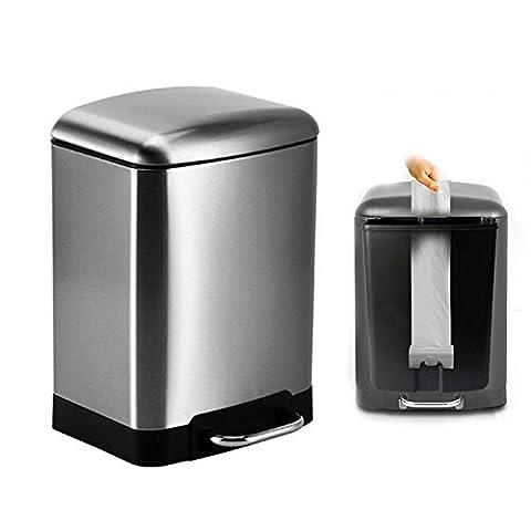 Dula® Poubelle Poubelle Maison en acier inoxydable poubelles semi-automatique Pouch Salon de salle de bain Chambre à coucher salle à manger Foot-style de cuisine, noir, 12L