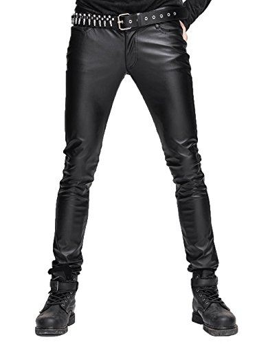 Devil Fashion Pantaloni Skinny Stretti di Steampunk Gothic Uomo Elasticizzati in Pelle Nera Pantaloni Skinny Slim Fit Slim con Cerniera Pantaloni di Grandi Dimensioni,M