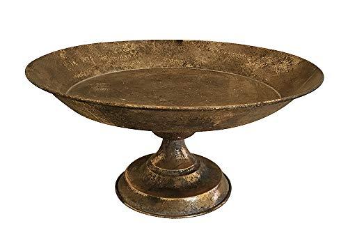 zeitzone Etagere Dekoschale auf Fuß Deko Tablett Metall Gold Antik-Stil Ø 33cm