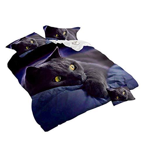 Jnsio 4Piece Dark Night schwarz Katze 3D Bettwäsche-Set, Animal Prints Bettbezug Set Kingsize-Größe 4-teilig Baumwolle Double Größe Tröster Geeignet für Kinder und Erwachsene,Kingsize -