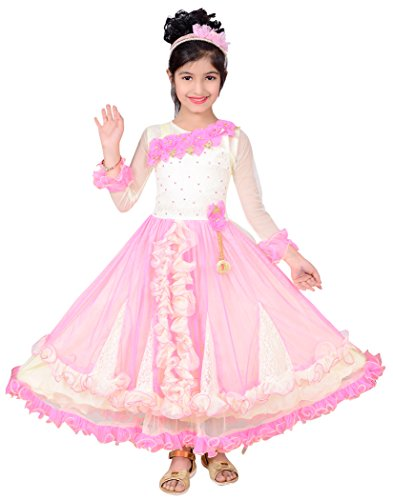 P R Enterprises 5 To 6 Yr Kids Girls Frock Pink & Cream, baby frocks, frocks for girls, casual and partywear frock, frocks for kids