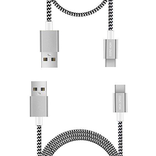 Typ C Kabel USB C Kabel 2 Pack (0,25 m 1 m) von FQIAO HSS Synchronisieren und Aufladen und langlebigem Nylon geflochten Stärken Design für Samsung Note 8 Samsung Galaxy S8 Samsung Galaxy S8 Plus, Nexus 5 x/6P, lumia950/950 X L, Apple New MacBook, Chromebook Pixel und andere USB-C devices- grau