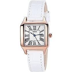 INWET Fashion Women's Quartz Watch,White Leather Strap,Square White Dial