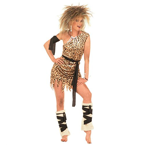 NET TOYS Damen Kostüm Jane Cavegirl im Leoparden Look Urwald Steinzeit Damenkostüm Karneval Gr M 38/40 (Jane Von Tarzan Kostüm)