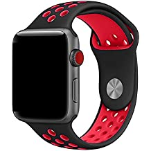 LeeHur Apple Watch Correa 42mm Flexible y Transpirable, Correa de Reemplazo Silicona Suave con Hebilla Ajustable para Reloj iWatch Nike Serie,  Banda con Estilo Deportivo, Sport Band para Apple Watch Series 1 / 2 / 3, Negro y Rojo
