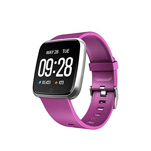 BZLine Bluetooth Smartwatch, Smart Watch Uhr Intelligente Armbanduhr Fitness Tracker Armband Sport Uhr Metall mit Herzfrequenz Farbe Bildschirm Schrittzähler für Android für iOS für Kinder Frauen Männer (Lila)