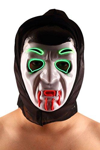Brinny EL Wire Drahtmaske Leuchten Maske LED Leucht Leuchtmaske Make Up Partymaske mit Batterie Box Kostüme Mask Weihnachten Tanzen Party Nacht Pub Bar Klub - Guy Schnelle Halloween-kostüm