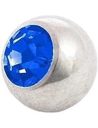 Piercing Bola Piedra Azul Zafiro | 1,2 x 3 y 4 mm