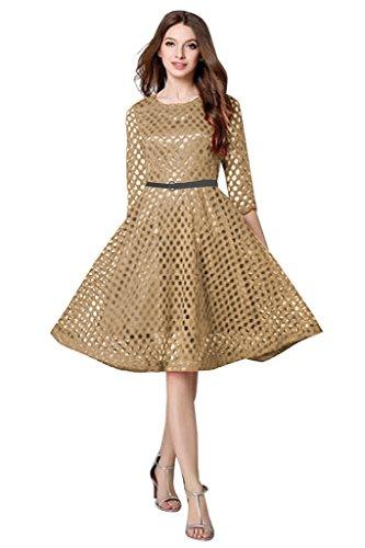 Active Women's Lace Dress With Belt(Beige)
