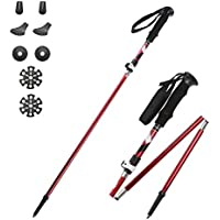 CLEEBOURG Collapsible Nordic Hiking Poles, Lightweight Adjustable Unisex Trekking Poles, Hiking Sticks/Walking Poles for Hiking, Trekking, Camping, Traveling, Climbing, Backpacking 1 Pair