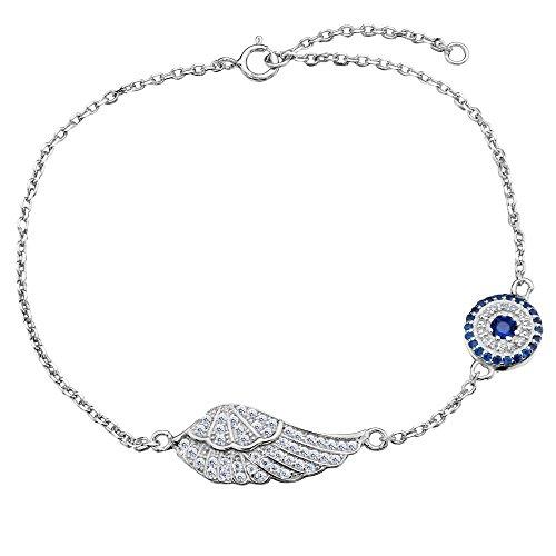 TENYE Damen 925 Sterling Silber Zirkonia Elegant Engel Fluegel blau Evil Auge Armband Armkette Chain