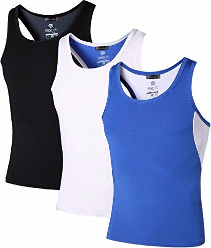 jeansian Herren Sportswear 3 Packs Sport Quick Dry Compression Tank Tops Vests Shirt LSL203 PackB XL