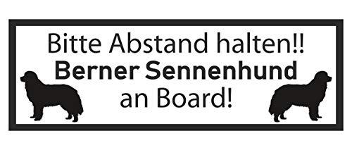 Samunshi® Aufkleber Berner Sennenhund an Board - Schild Sticker Hinweisschild Warnschild Vorsicht Hund 25 x 8,8cm schwarz -