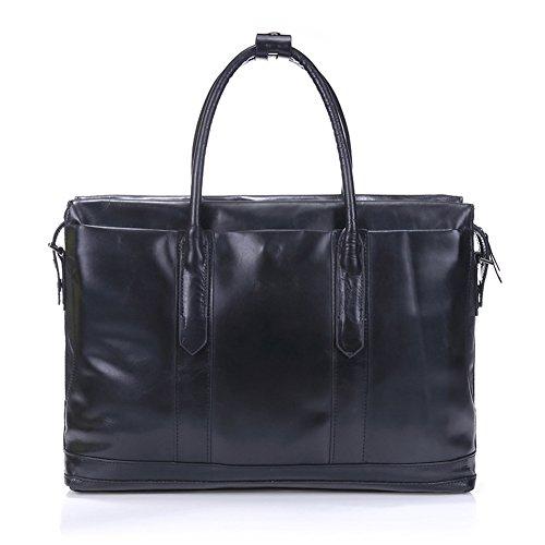 Primo strato da uomo, in pelle, con valigetta portatile-Borsa a tracolla in pelle Bag-Borsa Business Bags-Borsa da viaggio Nero