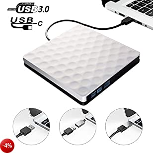 Masterizzatore CD DVD Esterno, USB3.0 Unità DVD Esterna Dual Port Tipo-C Lettore DVD Esterno DVD Drive per Windows10 / 7/8, laptop, Mac, Macbook Air/Pro, Apple, Desktop, PC