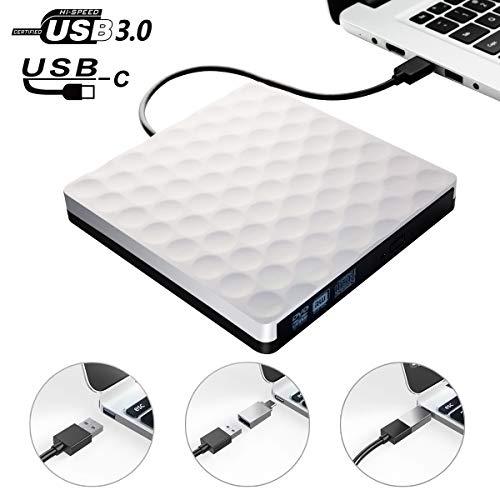 Lecteur CD/DVD Externe USB3.0 Graveur DVD Externe USB C DVD Enregistreur RW/ROM Ultra Slim Portable pour Windows 10/8/7/XP/Vista, Laptop, Mac, Macbook Air/Pro, Desktop, PC