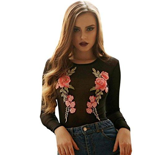 Trikot-outfit (♪ZEZKT♪Spitze Blumen Jumpsuit Bodysuit Overall Romper Bodysuit Tiefe V Ausschnitt Rückenfreie Spitze Shirt Tops Bodysuit Langarm Unterwäsche Netzeinsatz Netz Top Overalls Outfit (S, Schwarz))