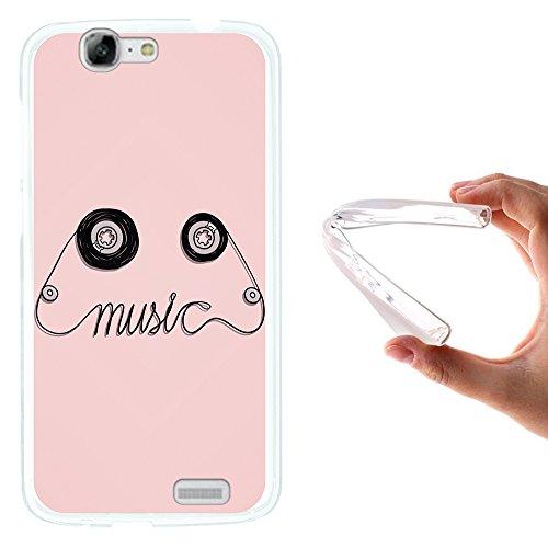 WoowCase Huawei Ascend G7 Hülle, Handyhülle Silikon für [ Huawei Ascend G7 ] Musikkassette Handytasche Handy Cover Case Schutzhülle Flexible TPU - Transparent