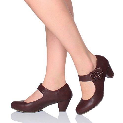 Donna tacco medio Mary Jane pelle foderata comodoa décolleté scarpette taglia Borgogna