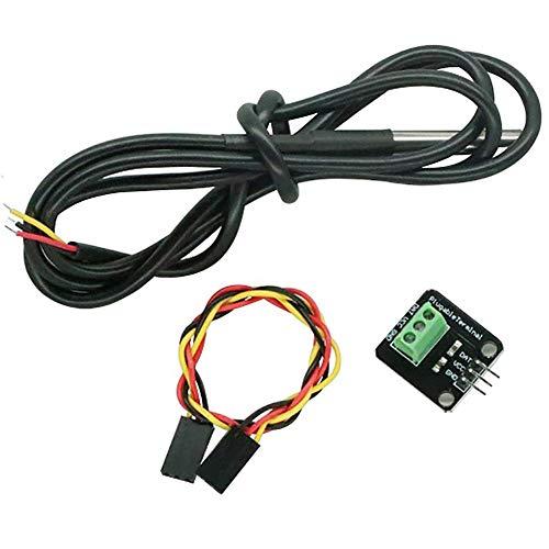 Kardu Temperatur Sensor Interface für DS18B20 - Wasserdichtes Sensormodul Kit, Edelstahlgehäuse 3P Thread Line Kabel Temperatur Thermometer Terminal Adapter für Arduino - Thread-terminal