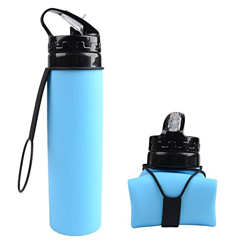 YSCYLY Sport Faltbare Wasserflasche Faltbare Silikon Flasche Kantine Roll up Cup Für Outdoor Wandern Camping Radfahren und Reisen,Blue