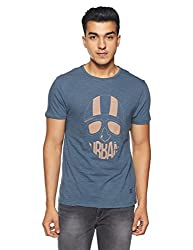 blackberrys Mens Solid Slim Fit T-Shirt (UKMU0381B4MS18FL40_Turquoise Blue)