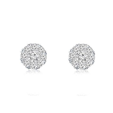 18ct 750Or blanc Cercle Forme Diamant Accents Boucles d