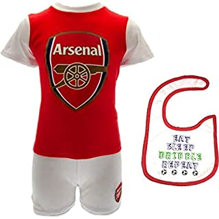 Official Arsenal F.C. Baby/Toddler Shorts, Shirt and Bib Set - New 2018/19 Design (3-6 Months) Red