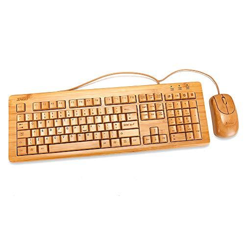 Sengu sg-ku308-n + MU1055-N 2,4 gHz Full Multimedia hecho a mano de bambú con cable teclado y ratón combo (almohadillas de 3 llaves)