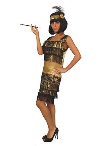 goldenes Charleston Kleid Karneval 20er Jahre Party Kostüm Fransen Damen Gr.M - L, Größe:L