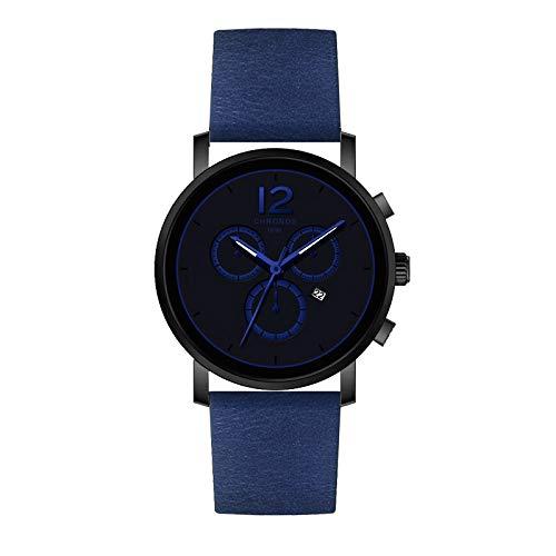 Angdu orologi da uomo moda casual wild date calendar impermeabile semplice nero rosso blu orologio da polso in pelle per gli uomini (color : blu)