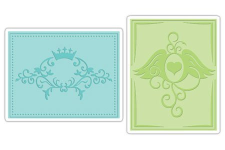 Sizzix Textured Impressions 2-Pack Embossing Folders: Crown Flourish & Heart Wings by Sizzix
