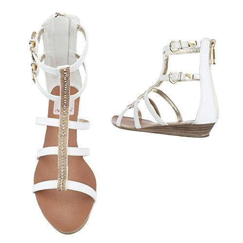 ... Riemchensandalen Damenschuhe Knöchelriemchen Riemchen Reißverschluss  Ital-Design Sandalen   Sandaletten Weiß c804f00706