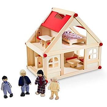 Glow2B Spielwaren 1000006 - Casa delle bambole, con 9 pezzi di mobilio e 4 bambole