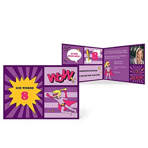 greetinks 100 x Einladungskarten Kindergeburtstag 'Comic Held' in Violett | Personalisierte Geburtstagskarten zum selbst gestalten | 100 Stück Einladungen Kinder Geburtstag - Jungen & Mädchen (Personalisierte Einladungen Kinder-geburtstag)