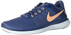 Nike Damen WMNS Flex 2016 Rn Laufschuhe Mehrfarbig (Azul/Naranja Moon/Sunset Glow/Coastal Blue), 38 EU