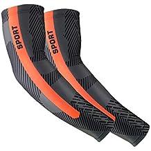 Manguito 1 Unids Hombres Mujeres Protección UV Compresión Correr Brazo Manga Golf Codos Deportes Montar Baloncesto Brazo Calentadores Manga Brazo (Color : Orange, tamaño : M)