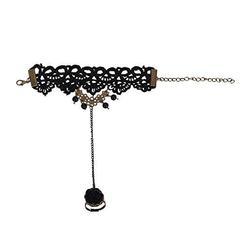 Pinzhi2pcs Gotik Spitzen Armband sexy zart Armreifen für Damen mit schwarz prächtige Ring