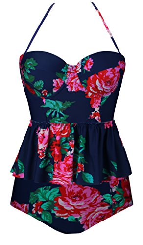 Angerella Vintage Swimwear Floral Print Tankini Bikini Set Swimsuit For Women