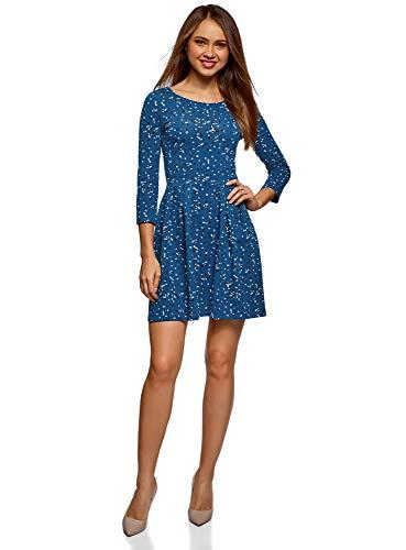 oodji Ultra Damen Tailliertes Jersey-Kleid, Blau, DE 40 / EU 42 / L