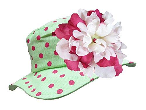 Jamie Rae Hats- Light Aloe Sun Hat with White & Raspberry Large Peony