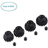 4PCS 16T 17T 18T 19T M1 5mm Shaft Motor Gear Module Pinion Combo Hardening for Brushed Motor of 1:8 1:10 1/8 1/10 RC Monster/Buggy/Truck by Crazepony-UK