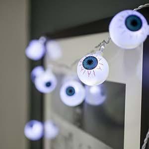 10er LED Lichterkette Augen Halloween Deko Batteriebetrieb Lights4fun