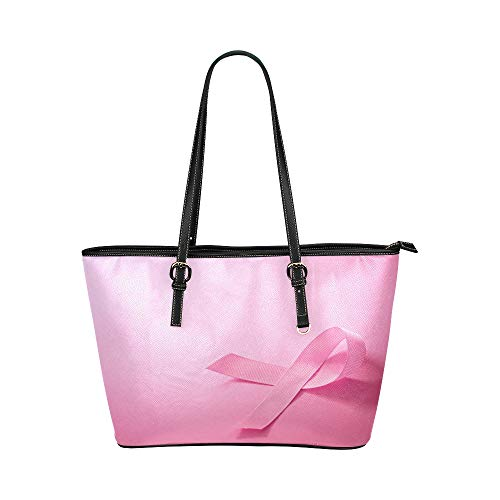 Pink Ribbon Breast Cancer Awareness Große weiche Leder Tragbare Top Hand Totes Taschen Kausale Handtaschen mit Reißverschluss Schulter Shopping Geldbörse Gepäck Organizer für die Arbeit von Lady