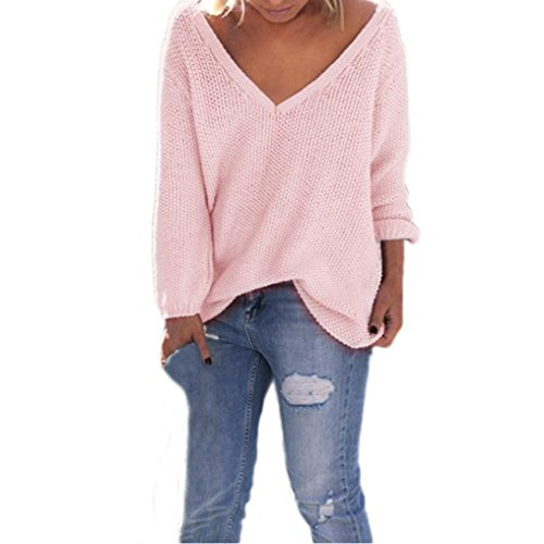 Tonsee Femmes manches longues en maille Pull Tricots en vrac Pull Jumper Tops Rose