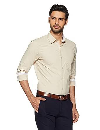 Diverse Men's Solid Regular Fit Cotton Formal Shirt (DVF05F2L01-39_39_Beige)