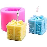 Caja de regalo de navidad Vela creativa Molde de silicona, soporte de vela Aroma Yeso