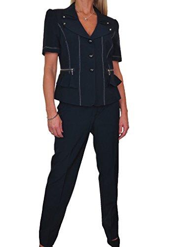 ICE (6449-1) su misura pantaloni da sera elegante a completamente allineato Bureau Nero